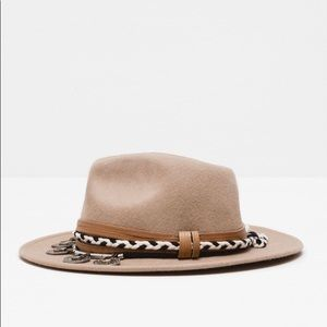 Zara sombrero with leather/metal detail